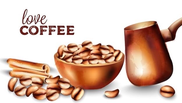 Grãos de café em uma bandeja, paus de canela e maconha cooper Vetor Premium