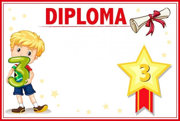 Grau três diploma certificado copyspace Vetor grátis