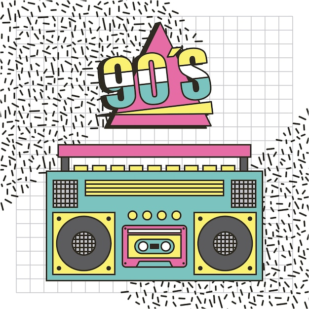 Gravador de música dos anos 90 Vetor Premium