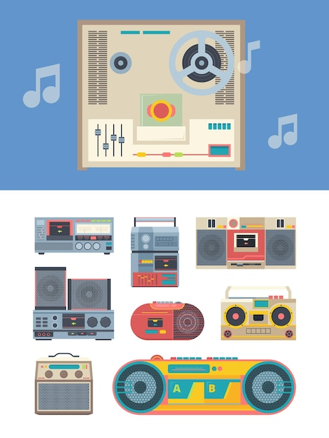 Gravador retro. coleção de aparelhos de música de players de áudio vintage portáteis. estilo anos 80 isolado Vetor Premium