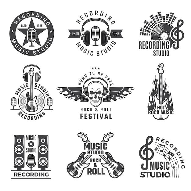 Gravadoras. microfone alto-falante bateria e fones de ouvido fotos e logotipos para estúdio de registros musicais Vetor Premium