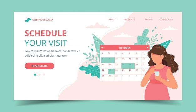 Gravidez de consulta médica. mulher grávida agendar uma consulta no smartphone Vetor Premium