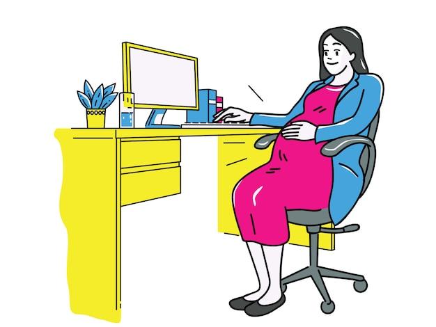 Gravidez de mulher de negócios Vetor Premium