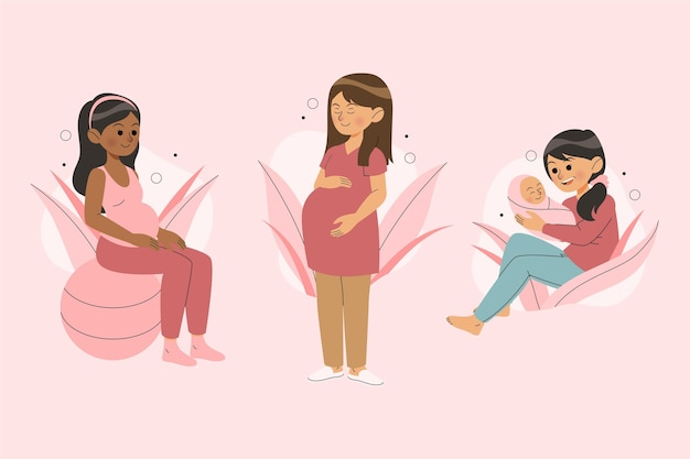 Gravidez e cenas de maternidade Vetor grátis