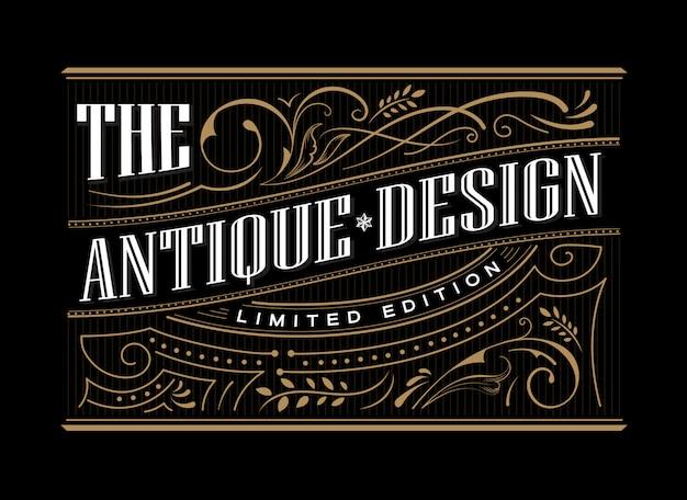 Gravura de fronteira antiga mão desenhada moldura ocidental tipografia gravura ilustração retrô vintage Vetor Premium
