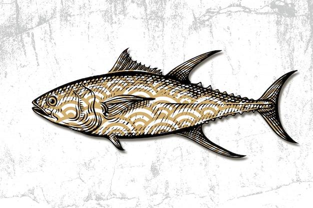 Gravura desenhada de mão de frutos do mar de atum Vetor Premium