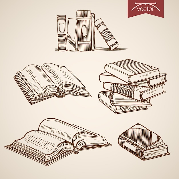 Gravura vintage mão desenhada biblioteca aberta, fechar coleção de livros. Vetor grátis