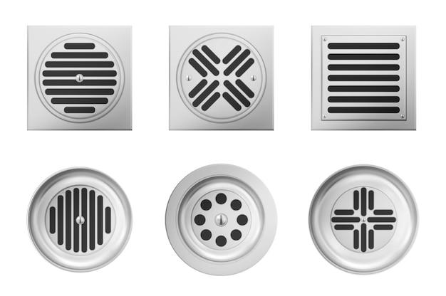 Grelhas de drenagem de metal para chuveiro ou pia isoladas no fundo branco. conjunto realista de bueiro quadrado e redondo com grade de aço no esgoto no banheiro ou no chuveiro Vetor grátis