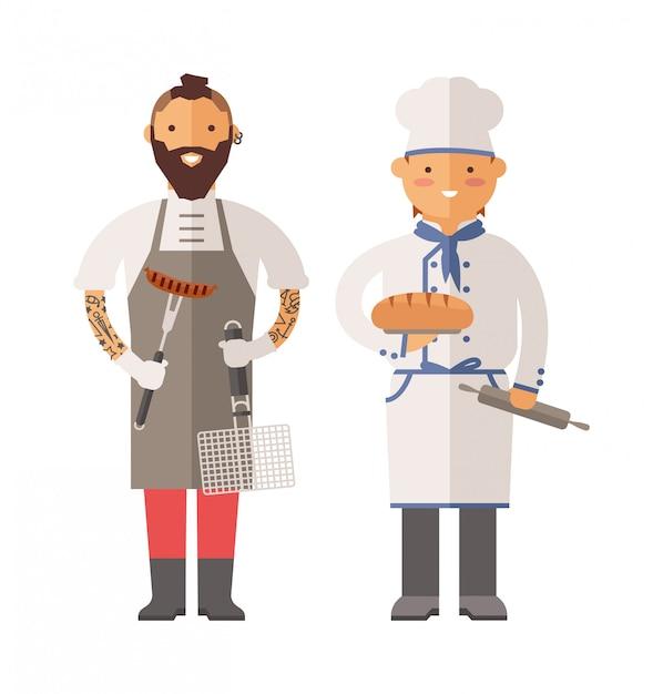 Grelhe o cozinheiro chefe e os homens do padeiro dois da ilustração do vetor do caráter. Vetor Premium