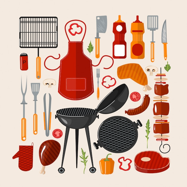 Grill churrasco conjunto de elementos. comida grelhada com ferramentas de cozinha Vetor Premium
