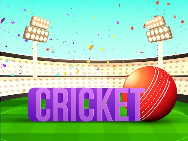 Grilo de texto 3d com bola de críquete Vetor Premium