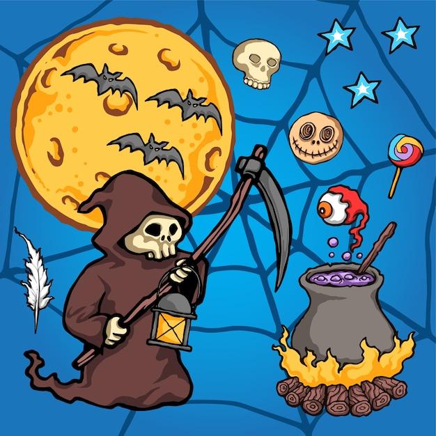 Grim reaper halloween ilustração vetorial Vetor Premium