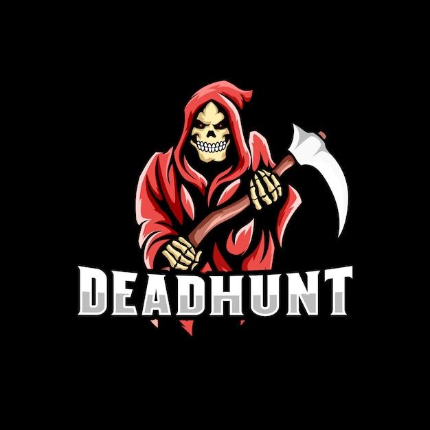Grim reaper logo jogo mascote Vetor Premium