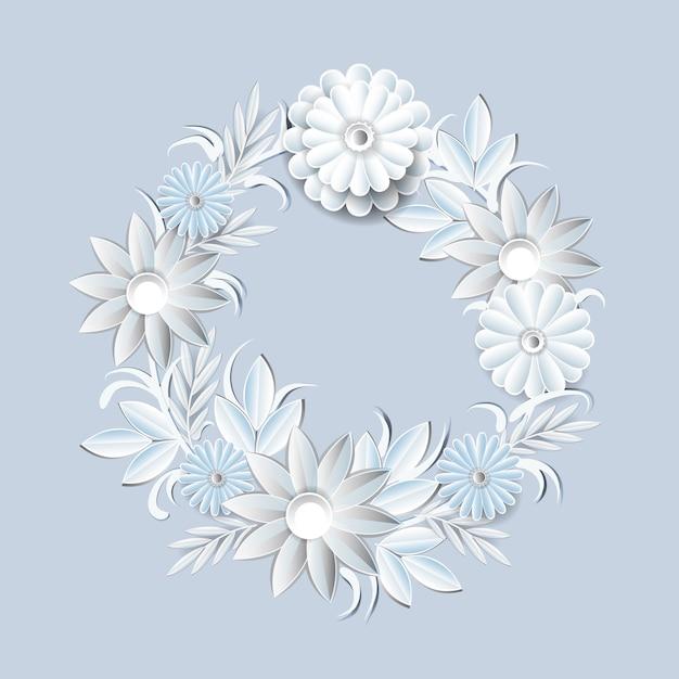 Grinalda bonita das flores brancas isolada. elemento de decoração floral frame redondo Vetor Premium