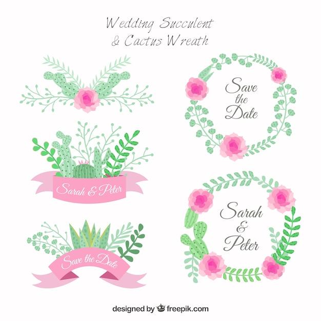 Grinalda cactus para casamentos Vetor grátis
