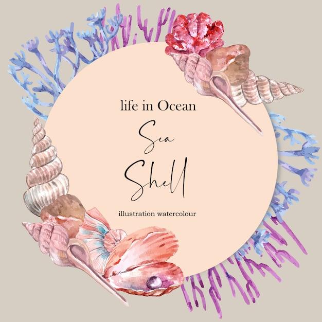 Grinalda com conchas e conceito de coral, ilustração de cor vibrante modelos Vetor grátis