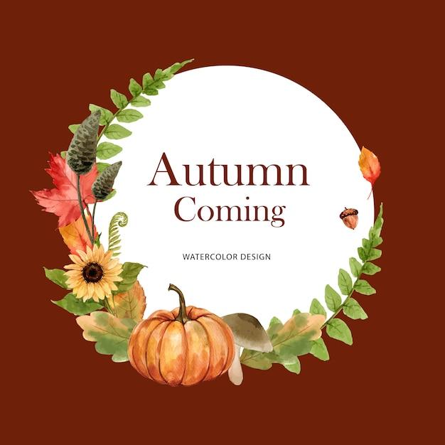 Grinalda com tema de outono Vetor grátis