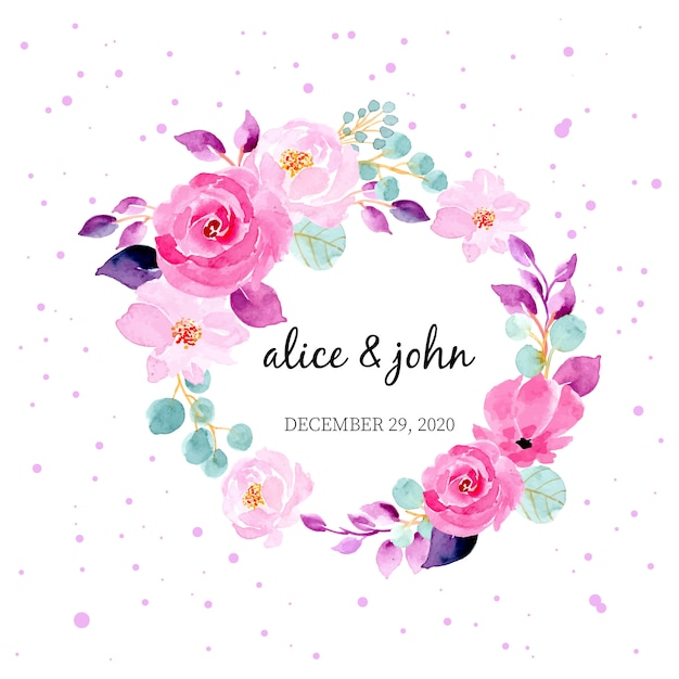 Grinalda de aquarela muito floral para modelo de convite de cartão de casamento Vetor Premium
