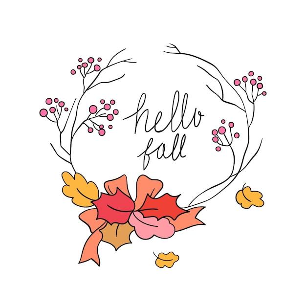 Grinalda de bagas de beleza na temporada de outono Vetor Premium