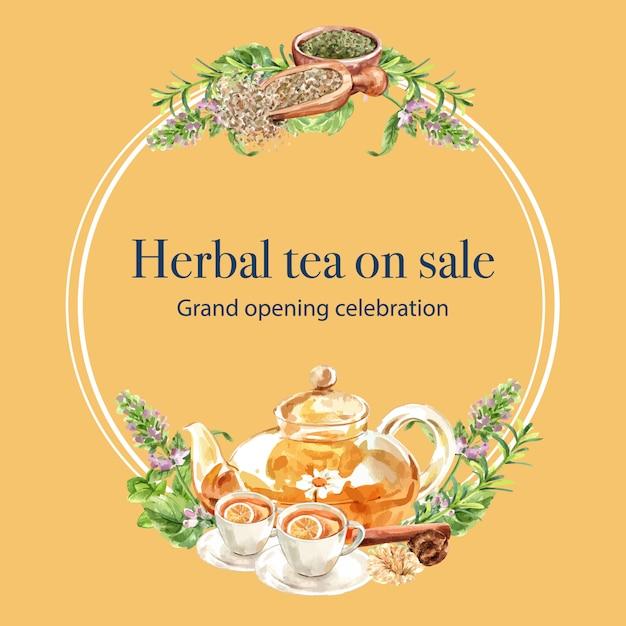 Grinalda de chá de ervas com ilustração em aquarela de folha, tomilho, melissa, limão. Vetor grátis