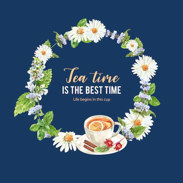 Grinalda de chá de ervas com limão, xícara de chá, roselle, canela ilustração em aquarela. Vetor grátis