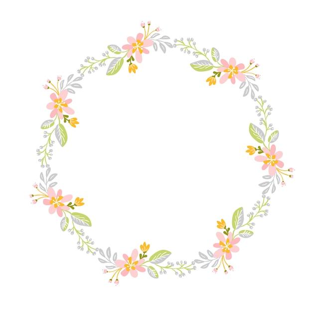 Grinalda de ervas de flor de primavera. moldura de jardim plana abstrata, feriado romântico de dia de mulher Vetor Premium
