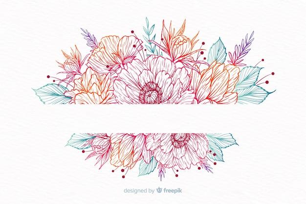 Grinalda de flor decorativa desenhada de mão Vetor grátis