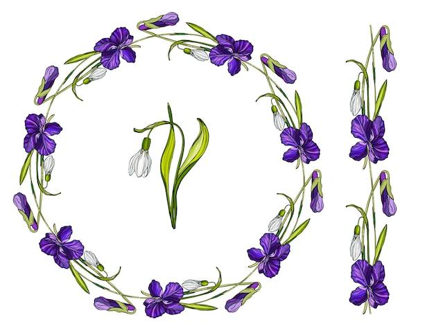 Grinalda de flores com flores da primavera. Vetor Premium
