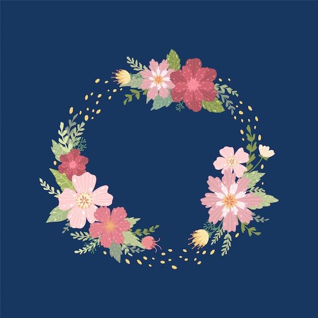 Grinalda de fundo de flores silvestres. quadro de decoração de verão. Vetor Premium