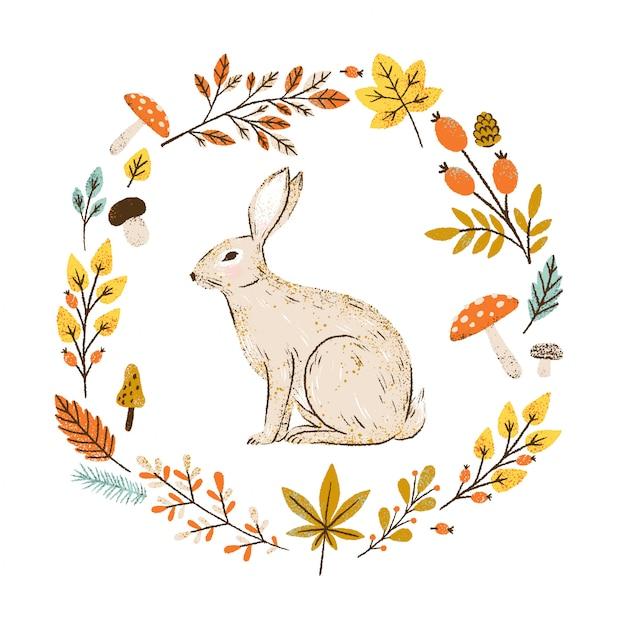 Grinalda de outono com folhas que caem, frutas e cogumelos. moldura redonda com coelho. Vetor Premium