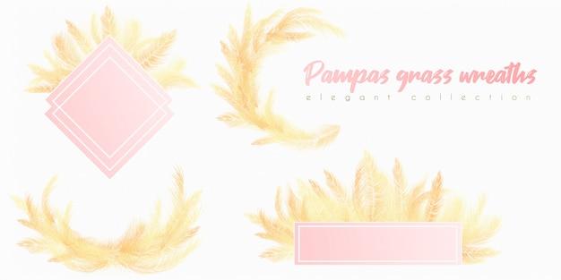 Grinalda de pampas douradas Vetor Premium
