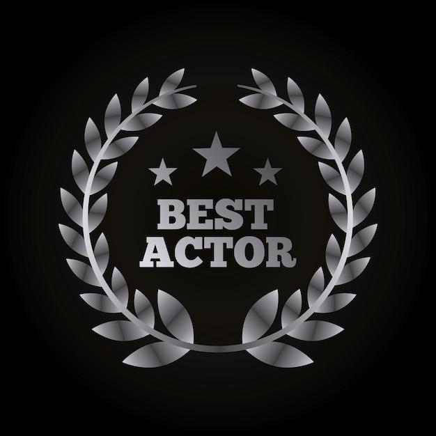 Grinalda de prata de folhas com conceito de prêmios de atores Vetor Premium