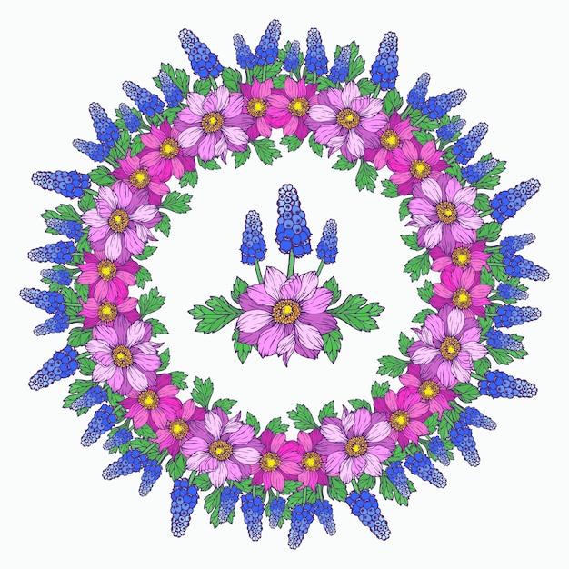 Grinalda de primavera de flores. quadro floral com anêmonas e muscari. Vetor Premium
