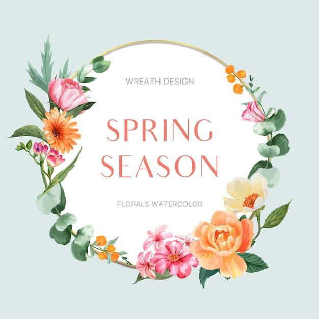 Grinalda de primavera quadro flores frescas, cartão de decoração com jardim colorido floral, casamento, convite Vetor grátis