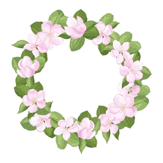 Grinalda de quadro com flores de flores de maçã Vetor Premium