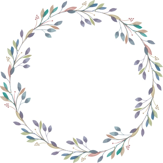 Grinalda elegante de ramos de aquarela Vetor Premium