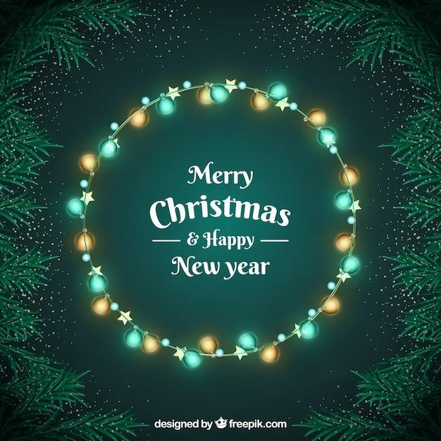 Grinalda feita de luzes de natal Vetor grátis
