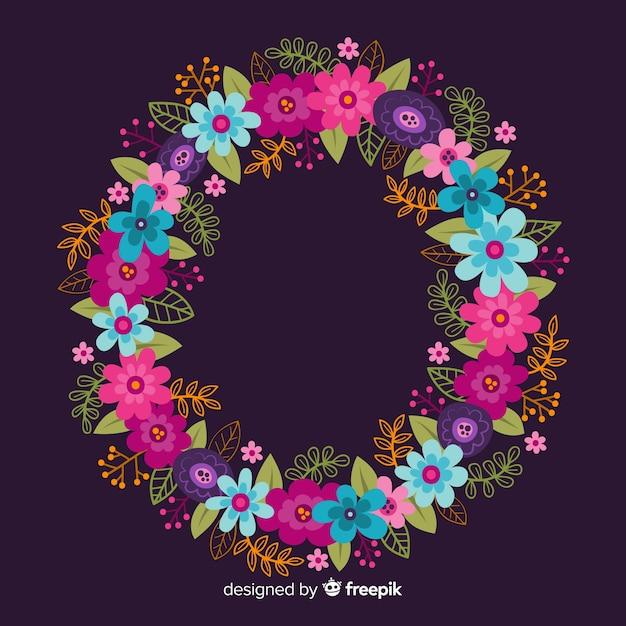 Grinalda floral colorida de mão desenhada Vetor grátis
