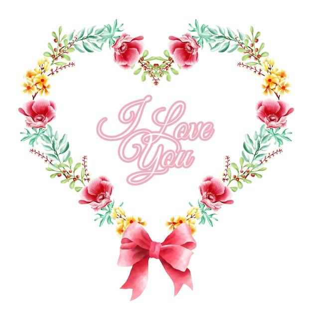 Grinalda floral de amor de geometria Vetor Premium