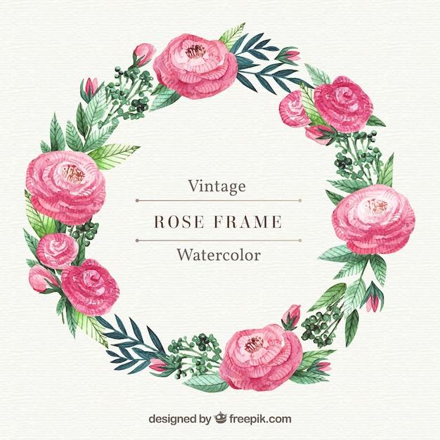 Grinalda, rosas, aguarela, folhas Vetor grátis