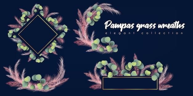 Grinaldas com grama de pampas rosa e eucalipto Vetor Premium
