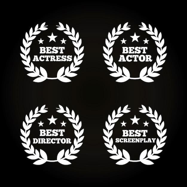 Grinaldas de folhas de atores prêmios conceito Vetor Premium