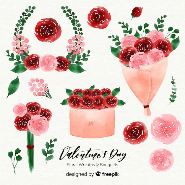 Grinaldas e buquês de flores em aquarela dia dos namorados Vetor grátis