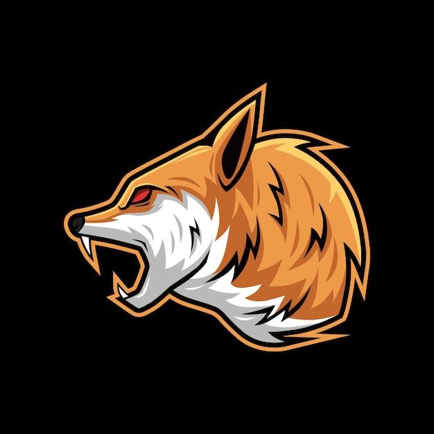 Grito rugido lobo vector ilustração mascote logotipo Vetor Premium