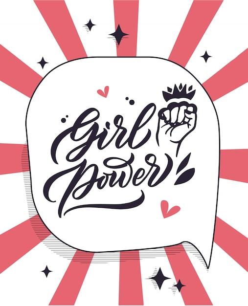 Grl pwr frase, etiqueta de citações feministas, slogan manuscritas letras criativas Vetor Premium