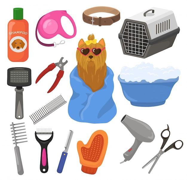 Grooming acessório do cão de estimação ou ferramentas de animais escova o secador de cabelo no conjunto de ilustração de salão de beleza groomer de cachorrinho cachorrinho equipamento de cuidados de higiene isolado no fundo branco Vetor Premium