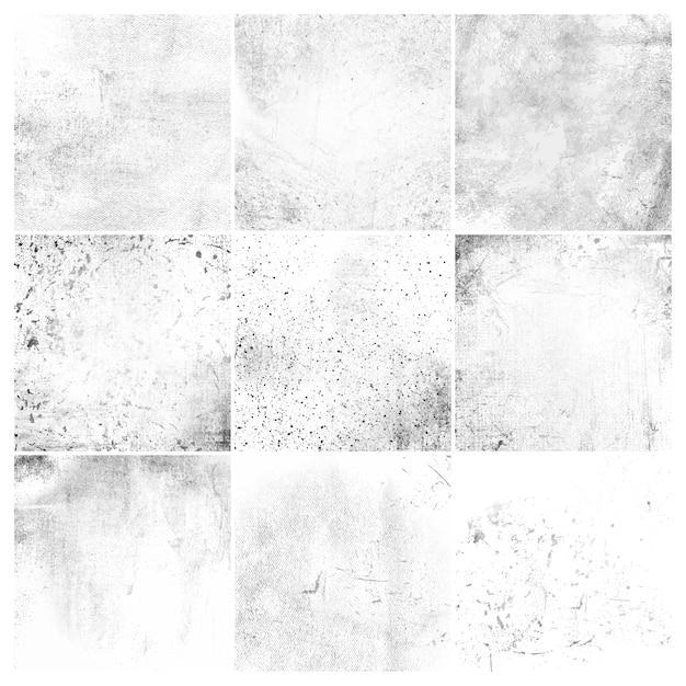 Grunge branco afligido textura conjunto Vetor grátis