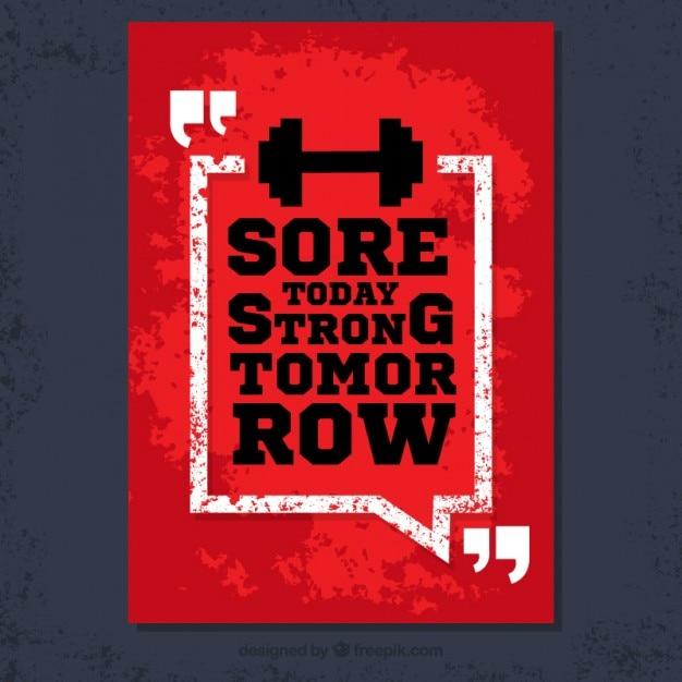 Grunge cartaz com citações de fitness Vetor grátis