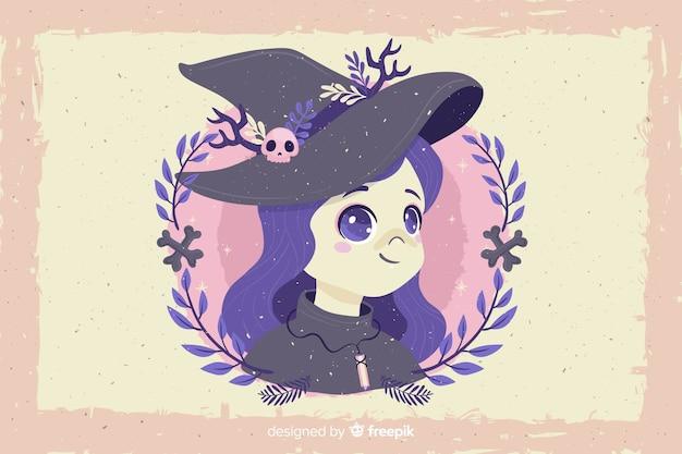 Grunge halloween fundo e bruxa avatar Vetor grátis