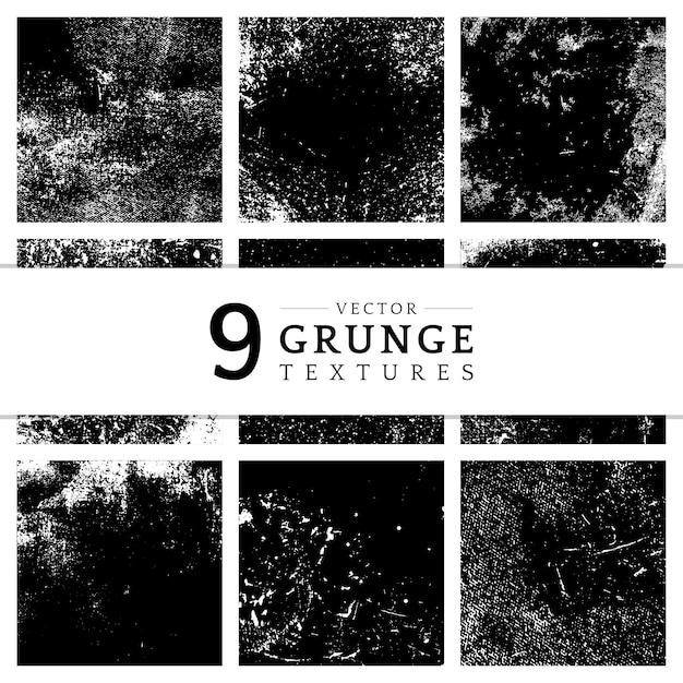 Grunge monocromático angustiado conjunto de textura Vetor grátis